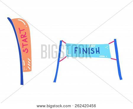 Vector Illustration Of Start And Finish Banners. Sport Flag Start And Finish, Banner Checkered For C