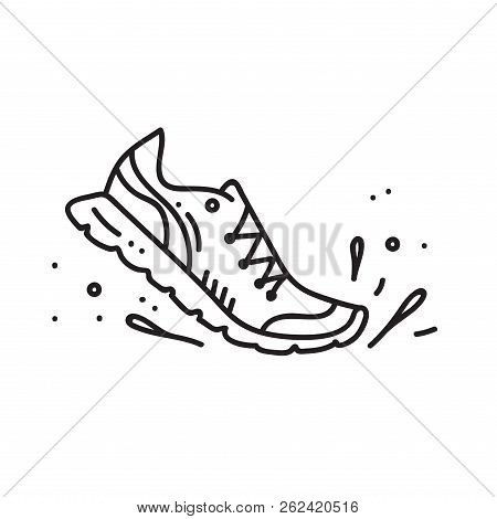 Vector Illustration Of Sport Running Shoe And Splash