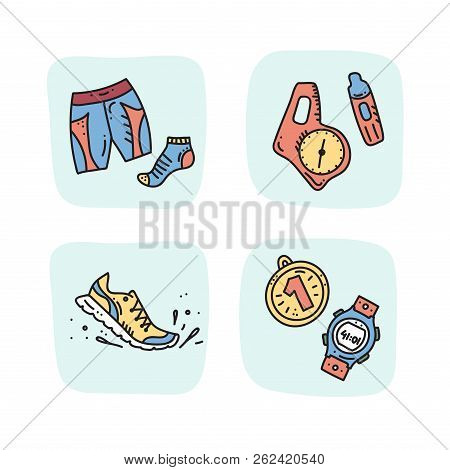 Vector Illustration Of Sport Orienteering Isolated Elements: Clothes, Sock, Shorts, Compass, Card, R