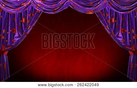 Purple Velvet Curtain With Gold Red Stars On Red Background.
