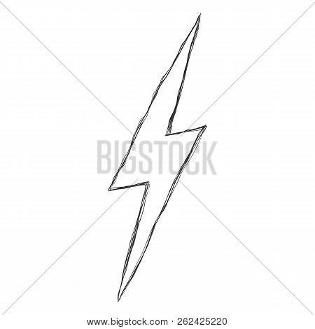 Vector Single Hand Drawn Doodle Sketch Illustration - Thunder Light Sign