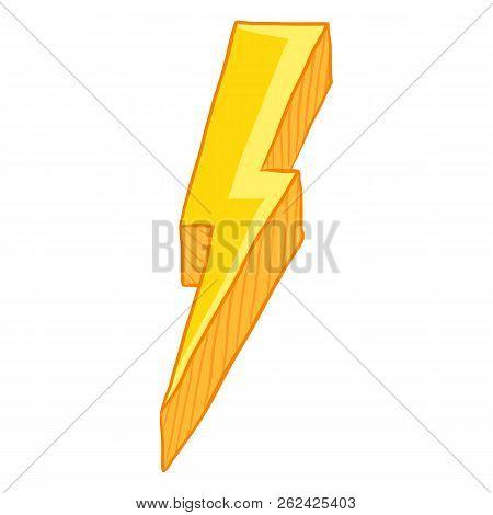 Vector Single Cartoon Illustration - Yellow Thunder Lighting Symbol