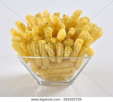 Corn Sticks snack, A light puffy snack made with pure corn blended with sugar, salt, baking soda and cornmeal flour. poster