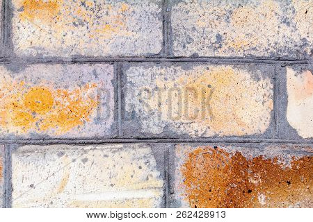 Old Brick Wall Close Up. Horizontal Wide Brick Wall Background. Vintage House Facade.
