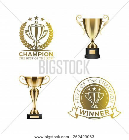 Gold Shiny Rewards For Winners And Champions Set. Trophy Cups With Round Diploma Certificates. Compe