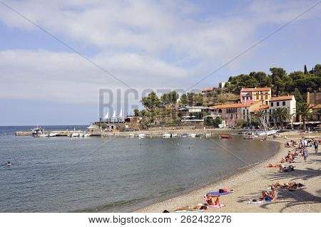 Collioure, France - September 5, 2018: Panorama Of Collioure And Its Beach In Summer That Offer Tour