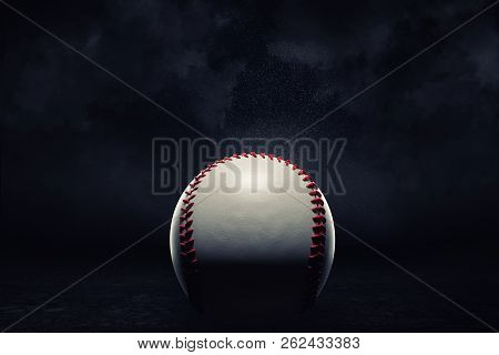 3d Rendering Of A Single Baseball Ball In A Close View Under A Spotlight On A Dark Background.