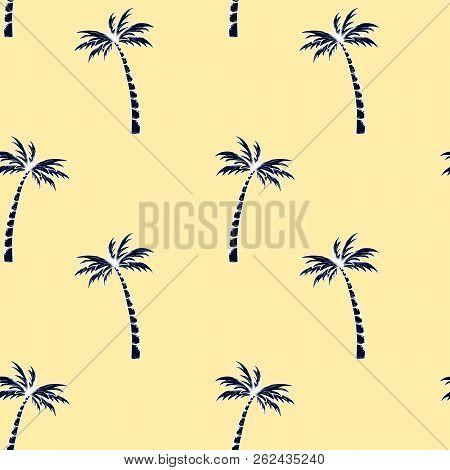 Palm Tree Pattern. Summer Doodles. Fabric Design. Tropical Palms. Ocean Background. Beach Rest. Hand