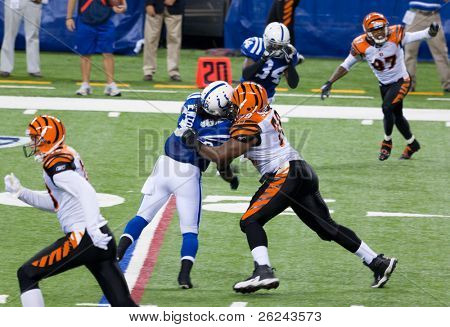 INDIANAPOLIS, IN - SEPT 2: Tackle during football game between Indianapolis Colts and Cincinnati Bengals on September 2, 2010 in Indianapolis, IN