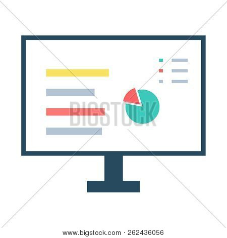 Vector Computer Screen With Data. Vector Computer Monitor With Chart Pie. Computer Screen Displaying