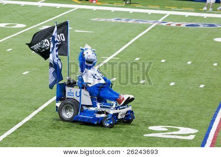 INDIANAPOLIS, IN - SEPT 2: The Indianapolis Colt's mascot Blue drives onto the field on September 2, 2010 in Indianapolis, Indiana.