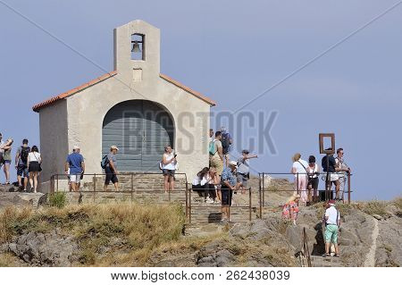 Collioure, France - September 5, 2018: The Collioure Jetty On Which Is Located The Saint-vincent Cha