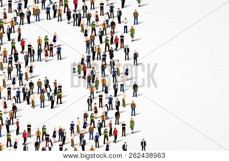 Large Group Of People In Number 3 Three Form. Vector Background