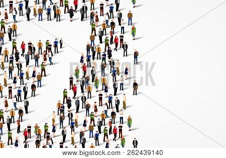 Large Group Of People In Number 7 Seven Form. Vector Background