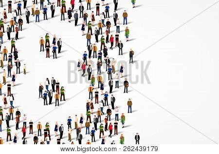 Large Group Of People In Number 8 Eight Form. Vector Background