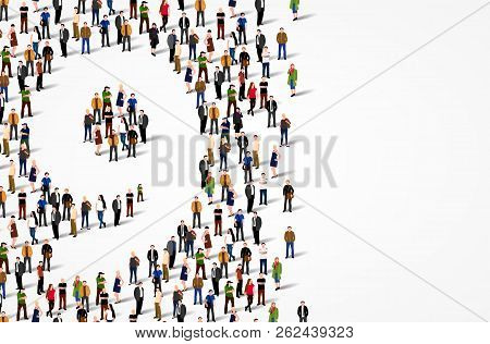 Large Group Of People In Number 9 Nine Form. Vector Background