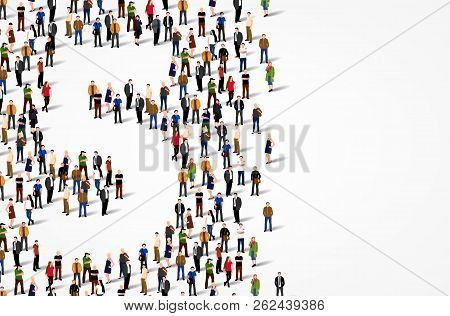 Large Group Of People In Number 5 Five Form. Vector Background