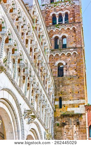 The Beautiful Lucca Cathedral With Its Carved Marble Frontage Is A Pearl Of Tuscane Architecture, It
