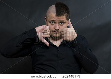 Punk. The Finger Of One Hand Points Down. The Other Hand Points Up. Contradiction Gestures.