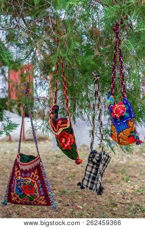 Background With Bags Embroidered And Decorated With Specific Patterns Of The Bistrita-nasaud Area, R