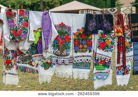 Traditional Romanian Folk Embroidery, Specific On Bistrita-nasaud Area, Exposed For Sale.