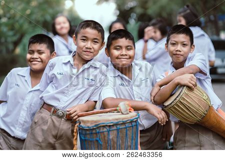 Kanchanaburi Thailand - July 26 : Unidentified Teacher And Students  Participated For Buddhist Lent