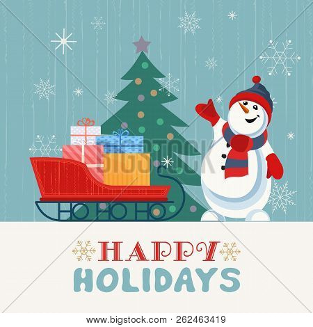 Fancy Seasonal Poster. Cartoon Playful Fun Snowman, Snow Ball. Template For Merry Christmas Winter S