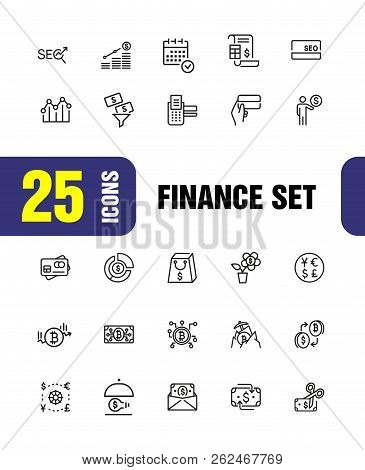 Finance Icons. Set Of  Line Icons. Currency Exchange, Cryptocurrency, Finance Idea. Banking Concept.