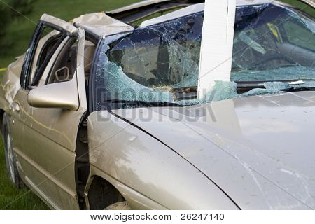 Car badly damaged in an accident by a drunk driver