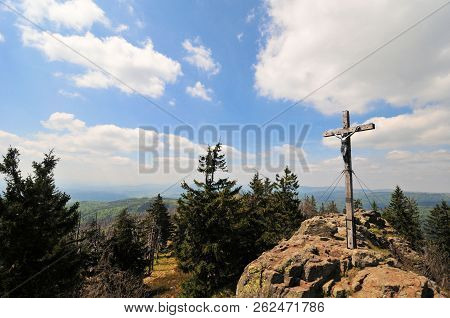 Summit Cross In The Bavarian Forest Summit Rock