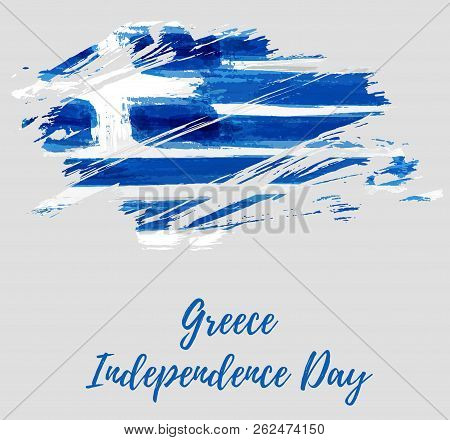 Greece Independence Day Holiday Background. Abstract Grunge Brushed Flag Of Greece. Template For Nat