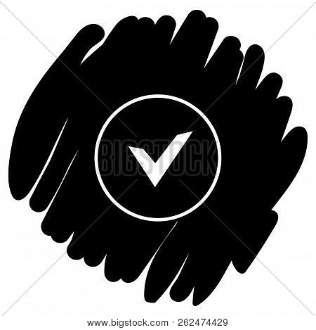 Chek, Ok, Yes Icon Approved Vector Illustration On Black Background
