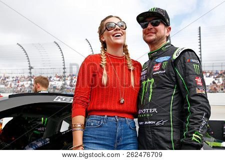 October 07, 2018 - Dover, Delaware, USA: Kurt Busch (41) hangs out with his wife, Ashley Busch, before the Gander Outdoors 400 at Dover International Speedway in Dover, Delaware.