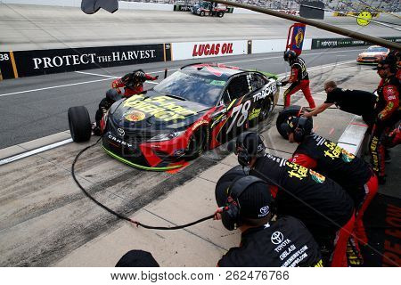 October 07, 2018 - Dover, Delaware, USA: Martin Truex, Jr (78) brings his car down pit road for service during the Gander Outdoors 400 at Dover International Speedway in Dover, Delaware.
