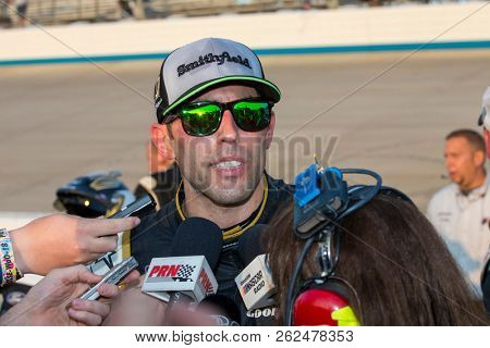 October 07, 2018 - Dover, Delaware, USA: Aric Almirola (10) speaks to the media following the Gander Outdoors 400 at Dover International Speedway in Dover, Delaware.