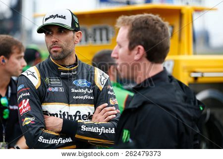 October 05, 2018 - Dover, Delaware, USA: Aric Almirola (10) hangs out on pit road prior to qualifying for the Gander Outdoors 400 at Dover International Speedway in Dover, Delaware.