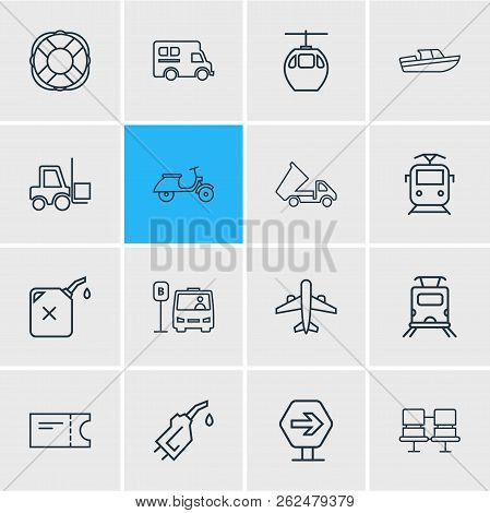 Vector Illustration Of 16 Transport Icons Line Style. Editable Set Of Campervan, Suburban Train, Pas
