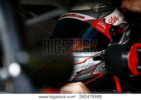 October 05, 2018 - Dover, Delaware, USA: Ryan Reed (16) hangs out in the garage during practice for the Bar Harbor 200 at Dover International Speedway in Dover, Delaware.