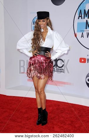Tyra Banks at the 2018 American Music Awards held at the Microsoft Theater in Los Angeles, USA on October 9, 2018.