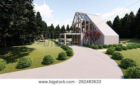 White Modern Scandinavian Luxury House, 3d Rendering