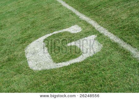 Goal line on a football field