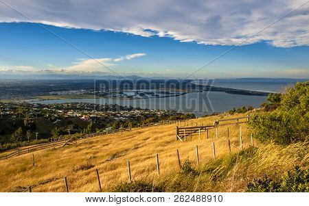 Aerial view over Christchurch fbay in Canterbury South Island New Zealand poster