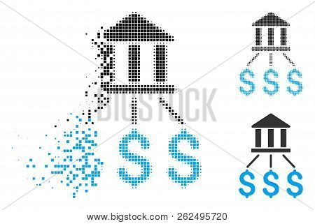 Bank Payments Icon In Fractured, Pixelated Halftone And Undamaged Entire Variants. Pixels Are Organi