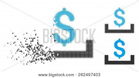 Deposit placement icon in dissolved, pixelated halftone and undamaged solid versions. Elements are grouped into vector dissolving deposit placement icon. Disintegration effect involves rectangle dots. poster