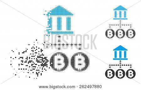 Bitcoin Bank Structure Icon In Dissolving, Pixelated Halftone And Undamaged Entire Variants. Fragmen