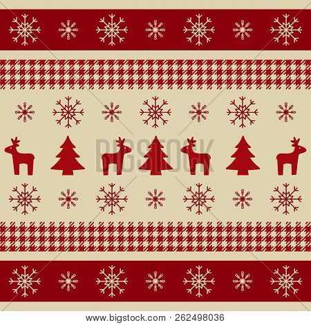 Christmas Wrapping Paper With Reindeers, Xmas Trees And Snowflakes. Bright Christmas Texture For Wal