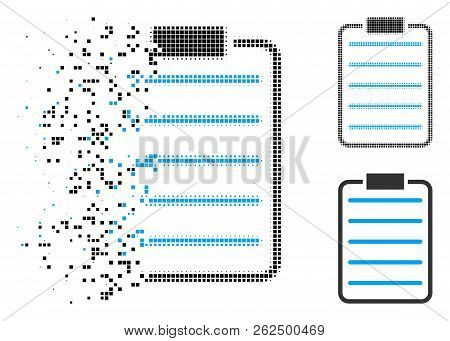 List Page Icon In Disappearing, Dotted Halftone And Undamaged Entire Versions. Elements Are Arranged