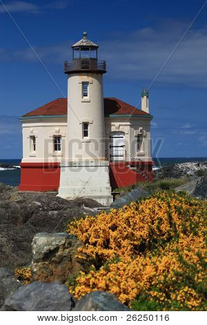 Coquille River Lighthouse in Bandon Oregon with Scotch Broom in the foreground