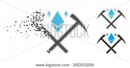 Ethereum Crystal Mining Hammers Icon In Disappearing, Pixelated Halftone And Undamaged Entire Versio