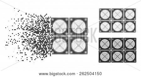 Mining Asic Farm Icon In Disappearing, Dotted Halftone And Undamaged Whole Versions. Pixels Are Comb
